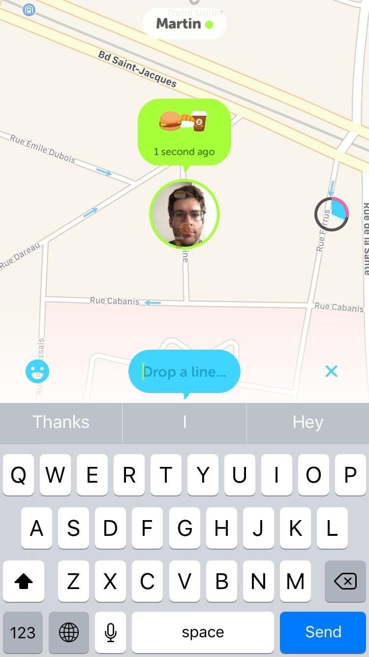 Messaging on iOS Zenly