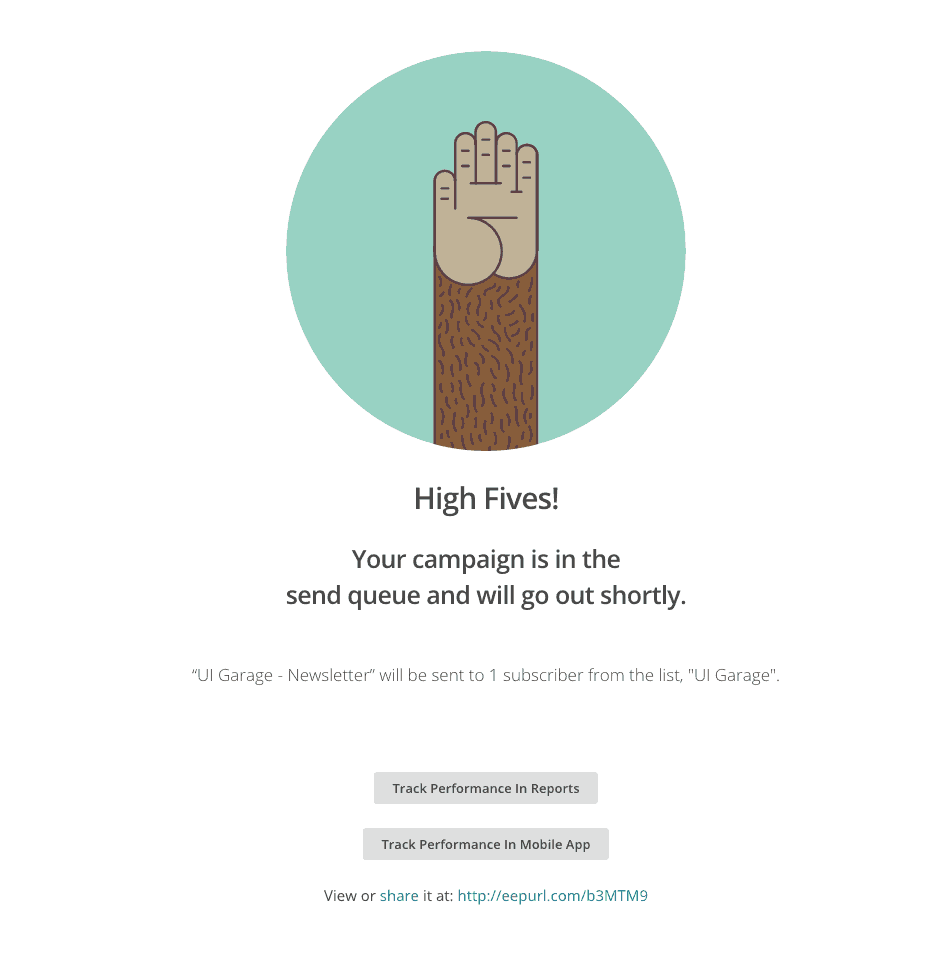 Congrats page by Mailchimp from UIGarage