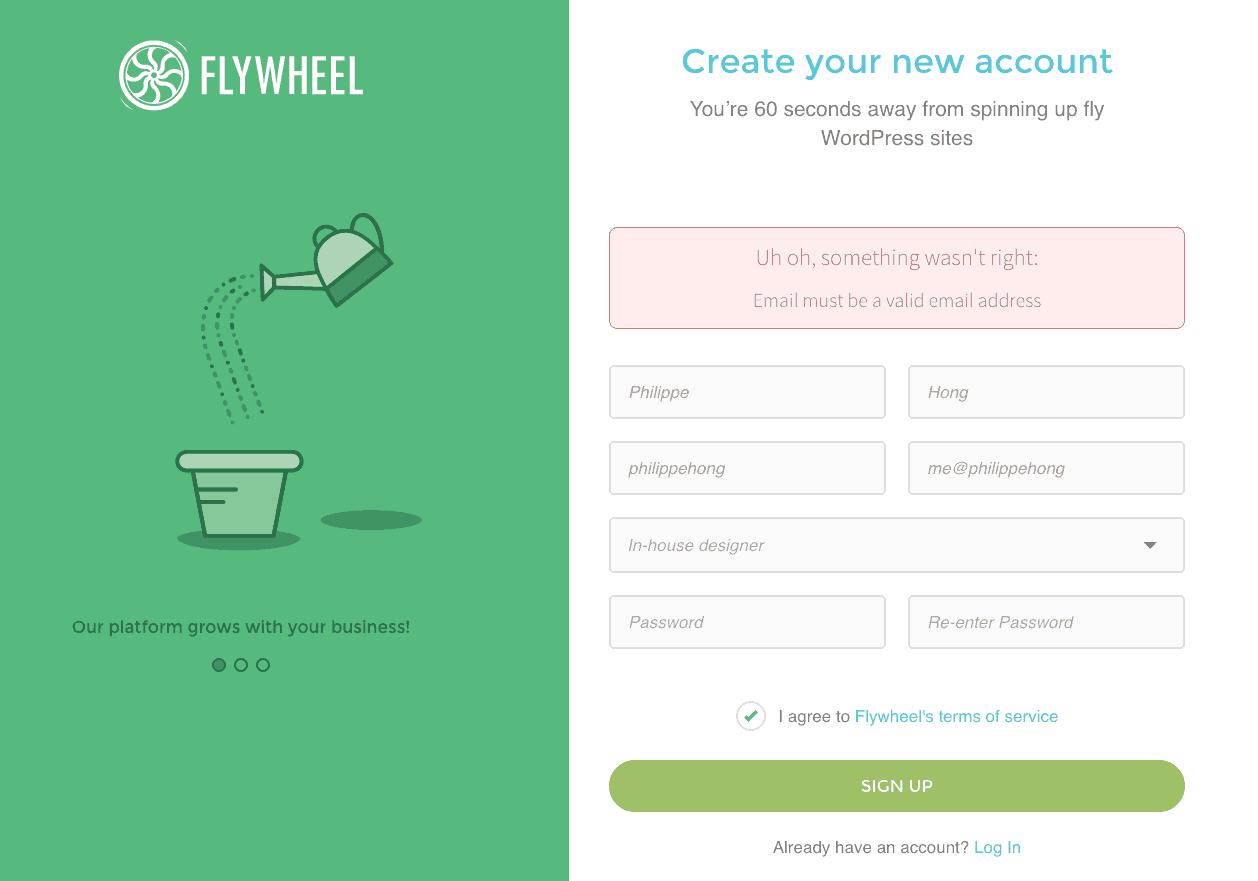 Error message on iOS by Flywheel