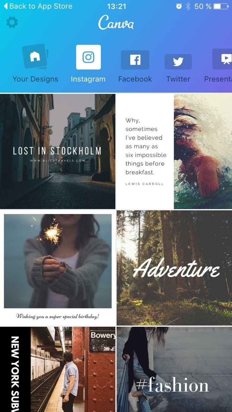 Hompage on iOS by Canva