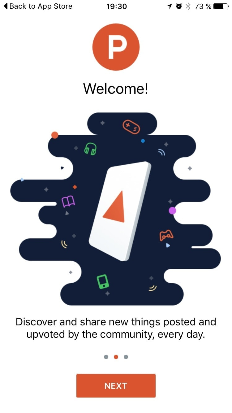 Onboarding on iOS by ProductHunt from UIGarage
