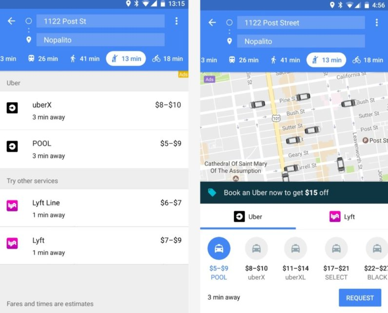 Uber/Lyft on Google Maps