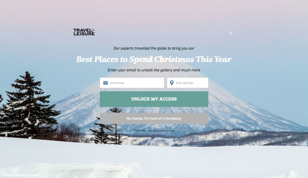 Travel+Leisure Signup from UIGarage