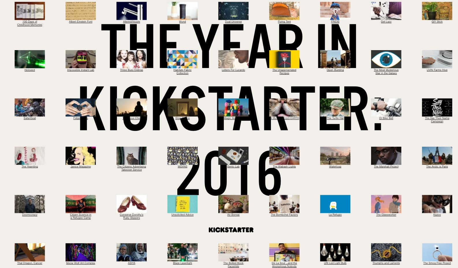 Year in Review by Kickstarter 2016 from UIGarage