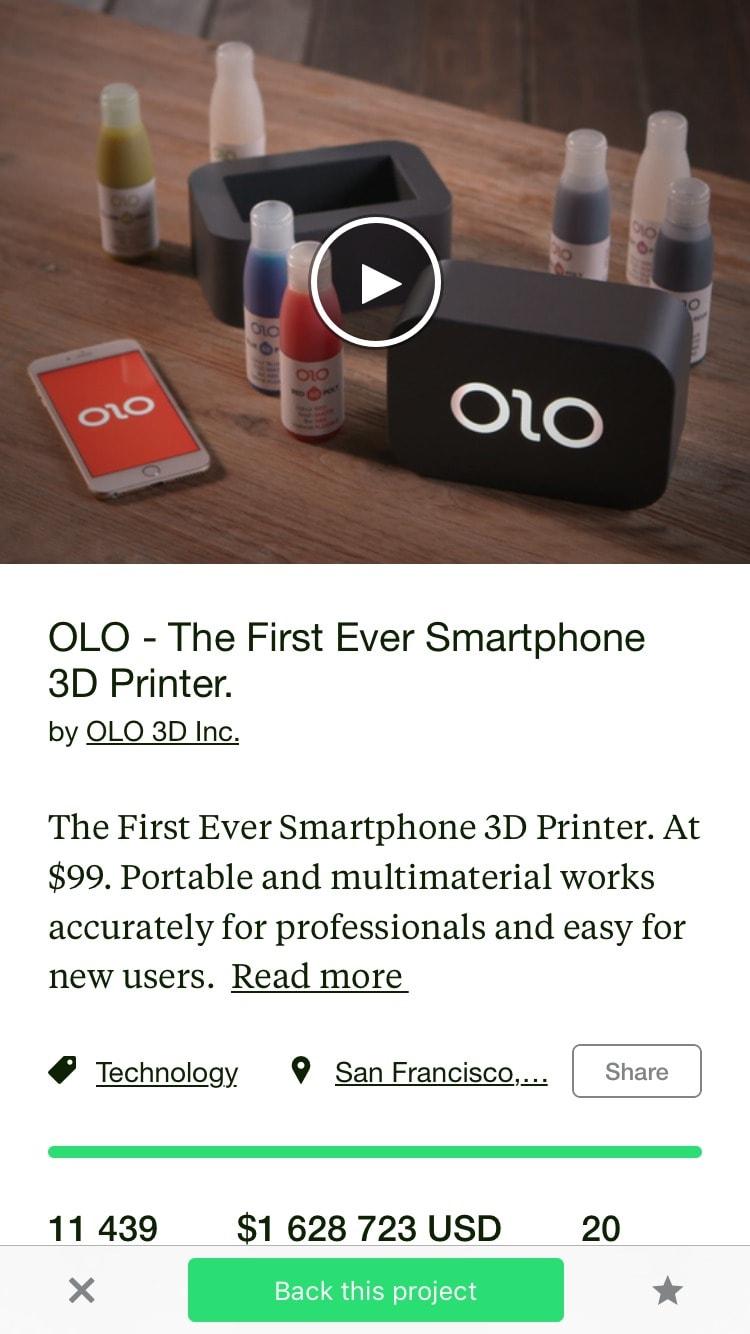Content Screen by Kickstarter