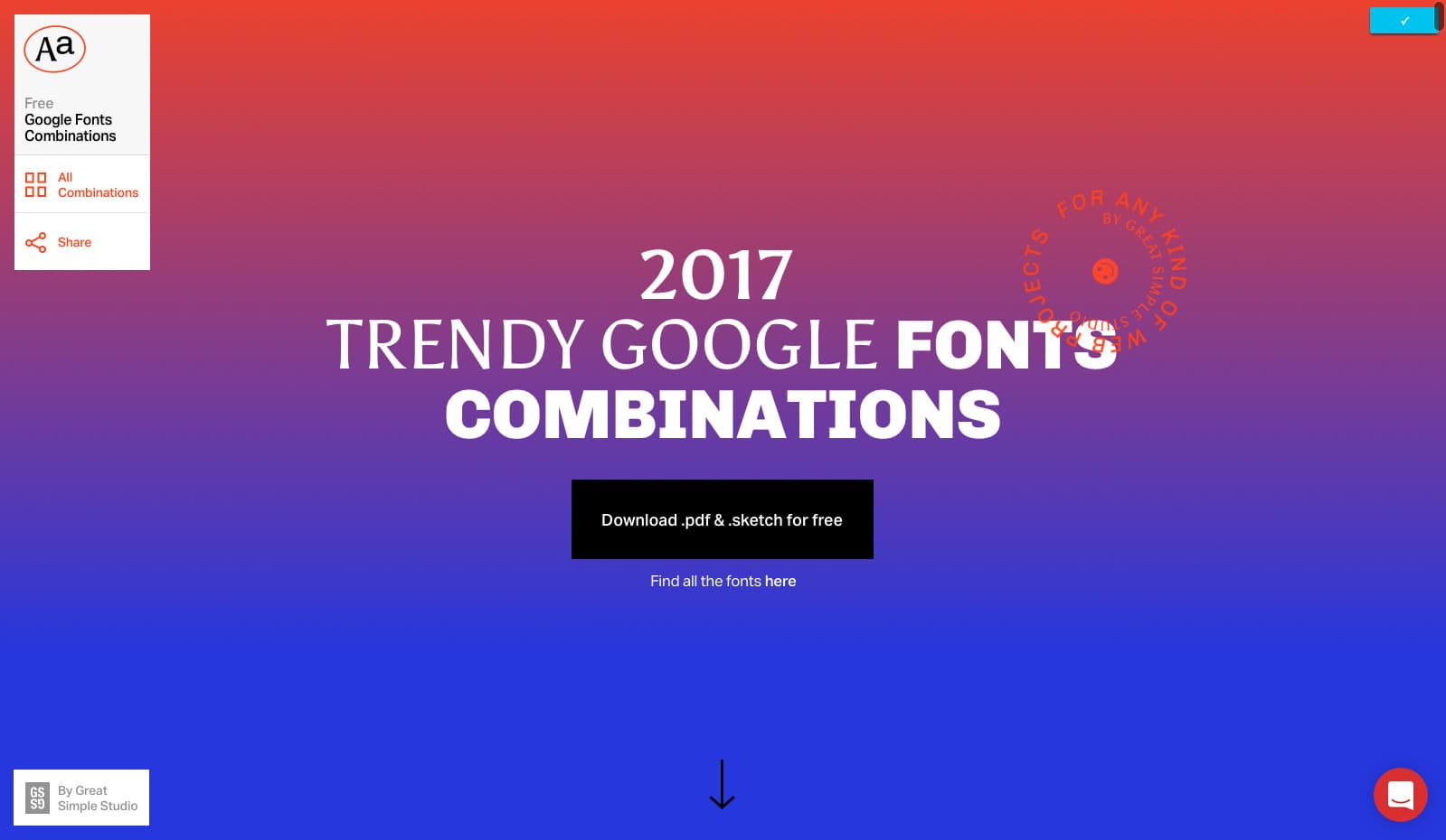Landing Page by Google Fonts Combinations
