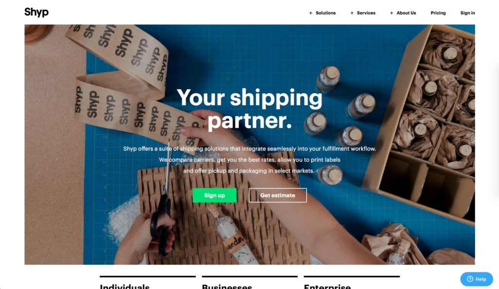 Homepage by Shyp from UIGarage