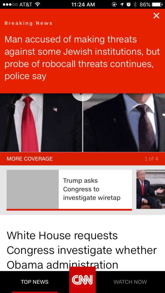 Alerts on iOS by CNN from UIGarage