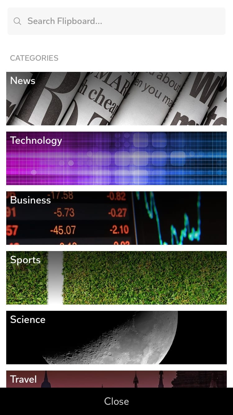 Categories on iOS by Flipboard