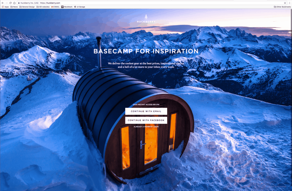 Landing Page by Huckberry from UIGarage
