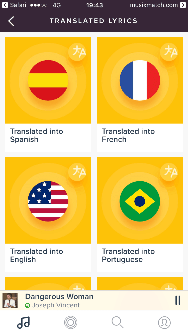 Language Picker on iOS by Spotify