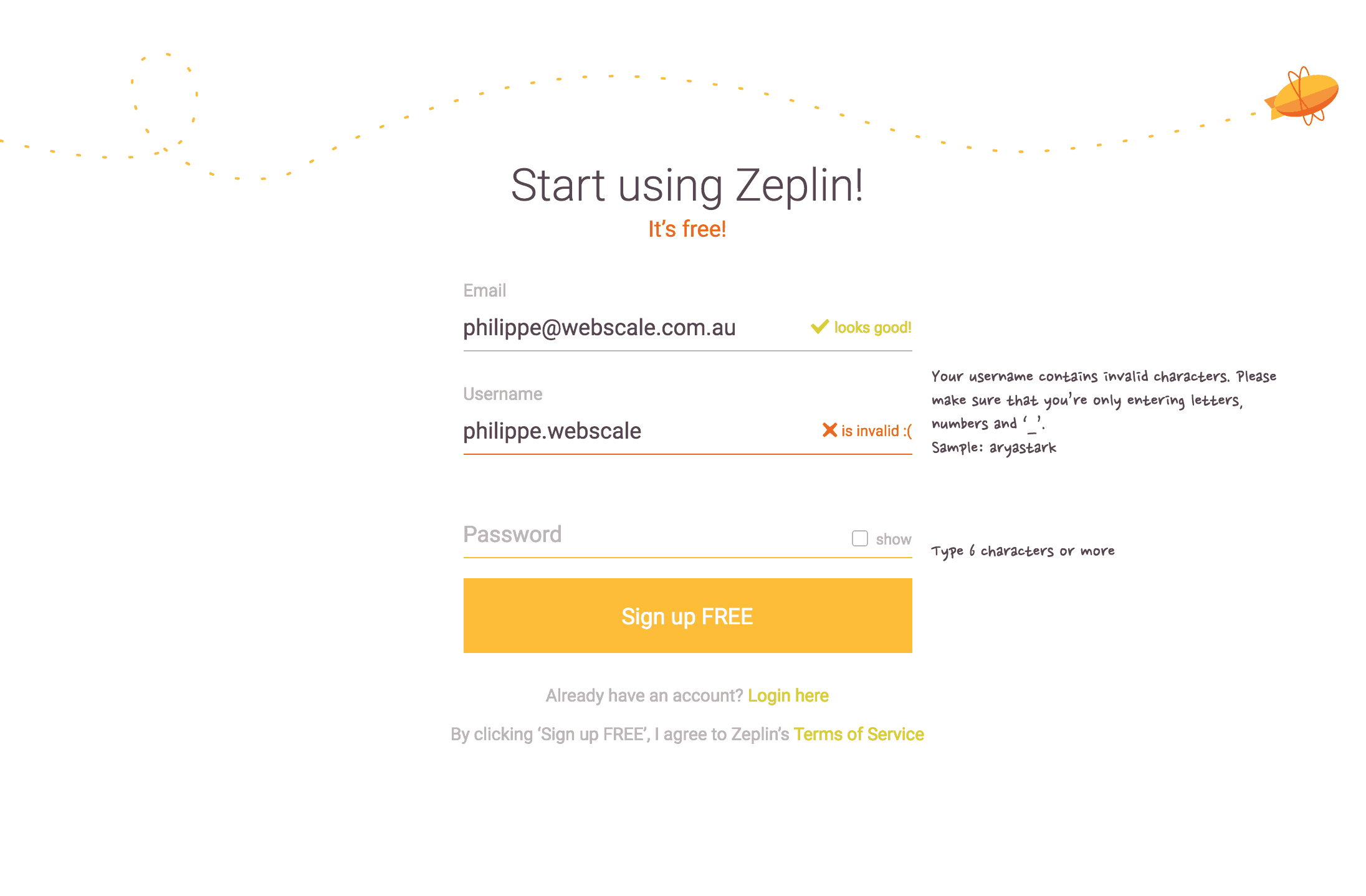 Zeplin-Login Error