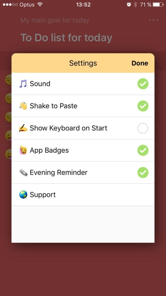 Checkbox Settings on iOS by To Do App from UIGarage
