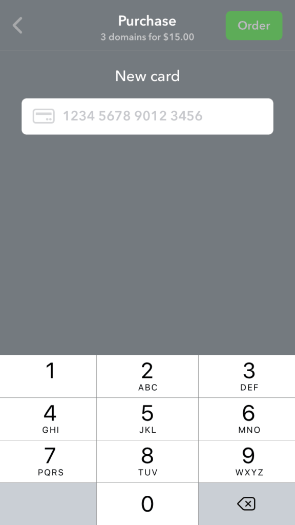 Add New Credit Card on iOS by Namecheap from UIGarage