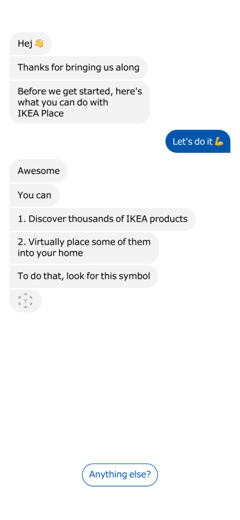 Onboarding on iOS by Ikea Place from UIGarage