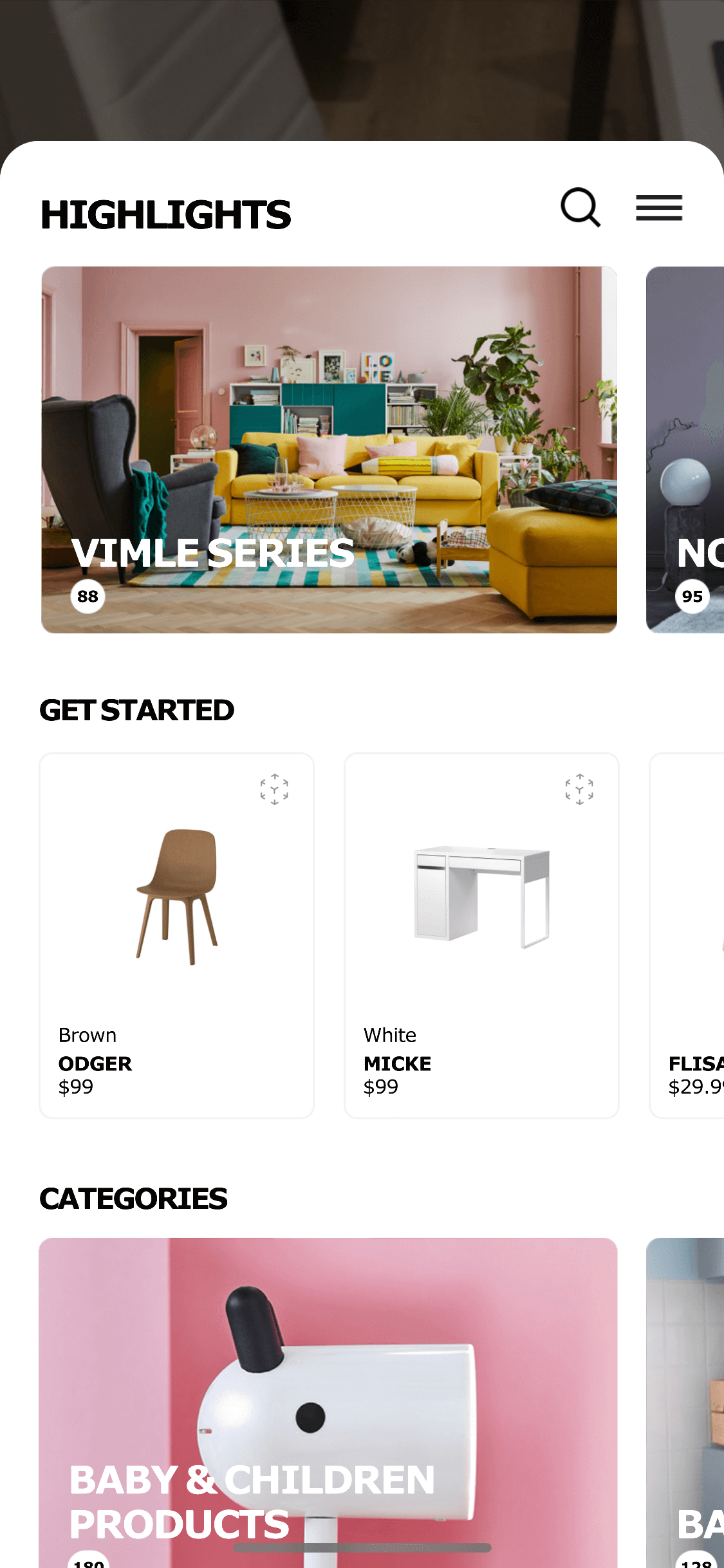 Homepage on iOS by Ikea Place