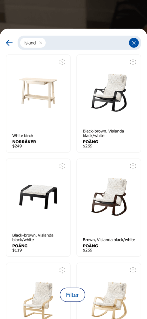 Search/Result on iOS by Ikea Place from UIGarage