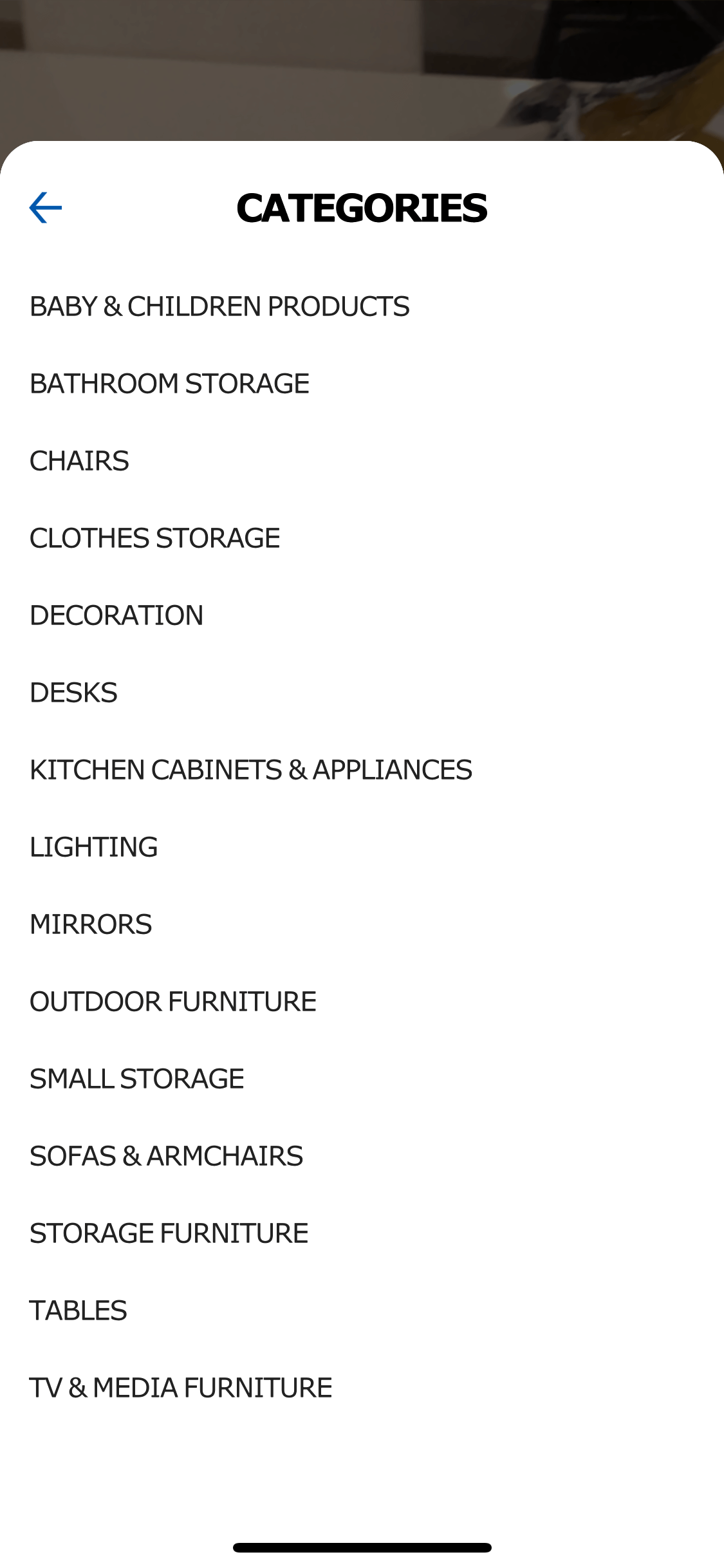 Categories list on iOS by Ikea Place