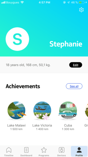 Achievements/badges on iOS by Health Mate from UIGarage