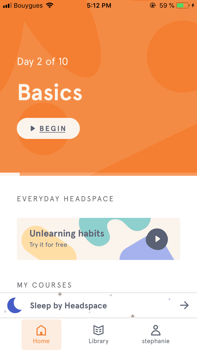 Homepage on iOS by Headspace