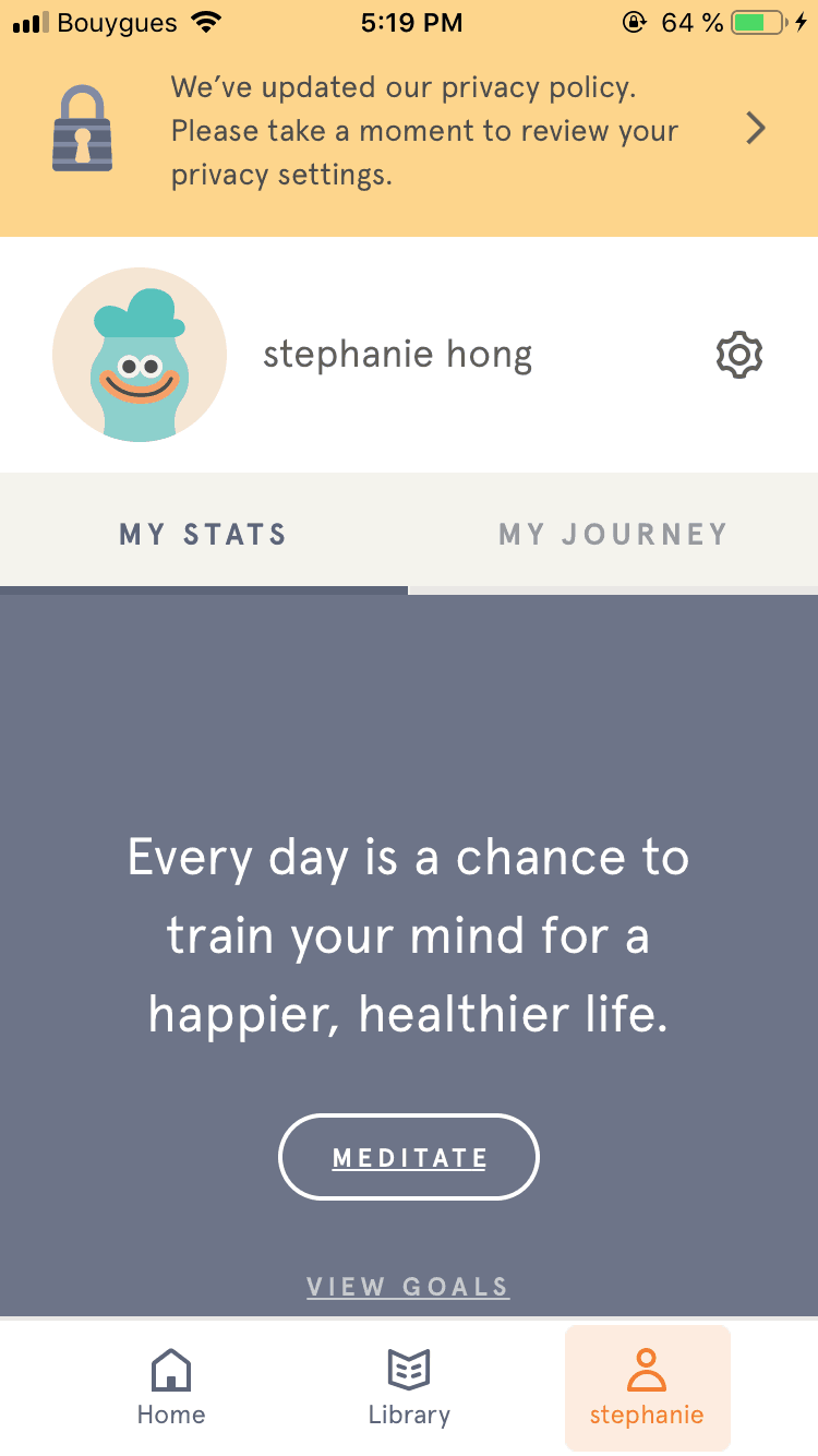 Profile Menu on iOS by Headspace from UIGarage