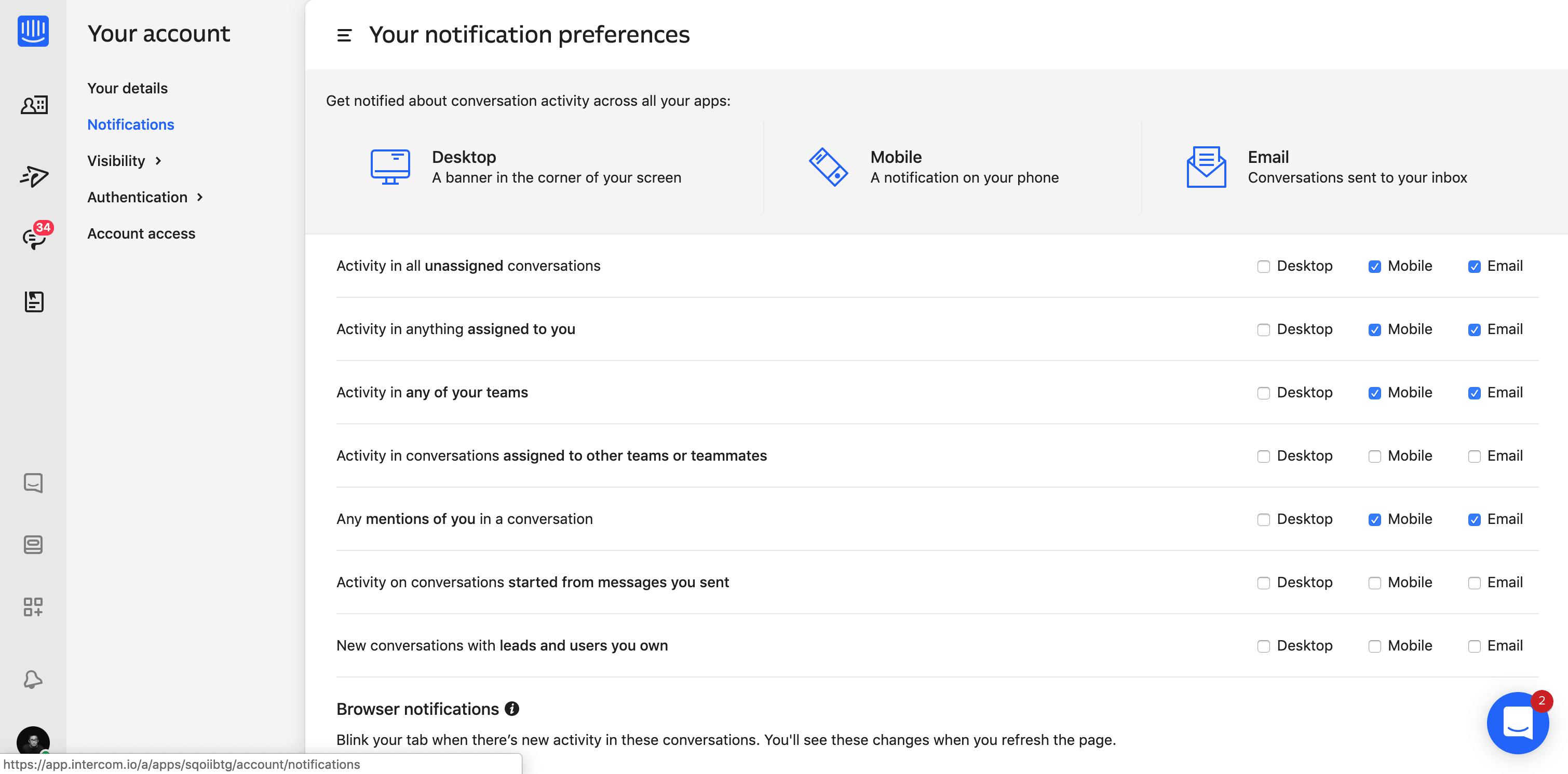 Notification Preferences by Intercom
