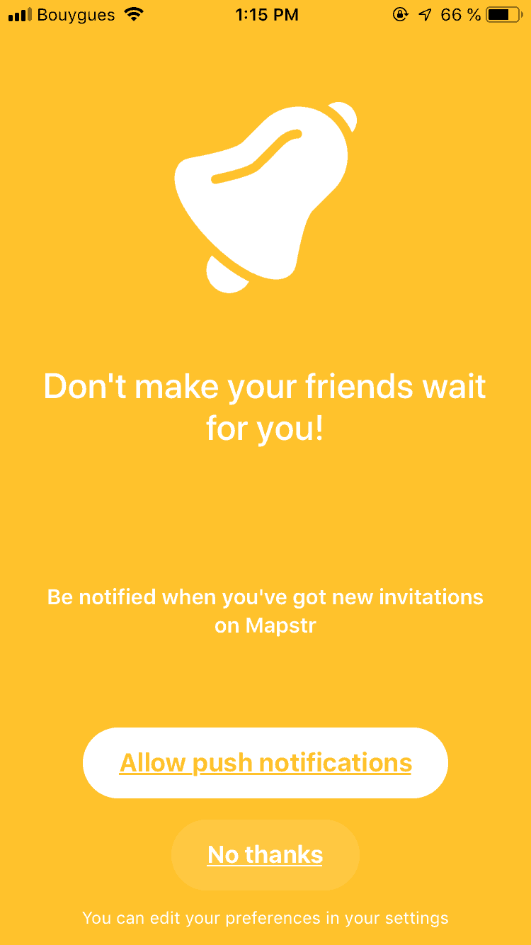 Ask permission on iOS by Mapstr