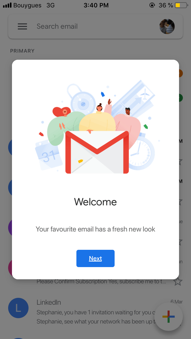 Welcome Message on iOS by Gmail