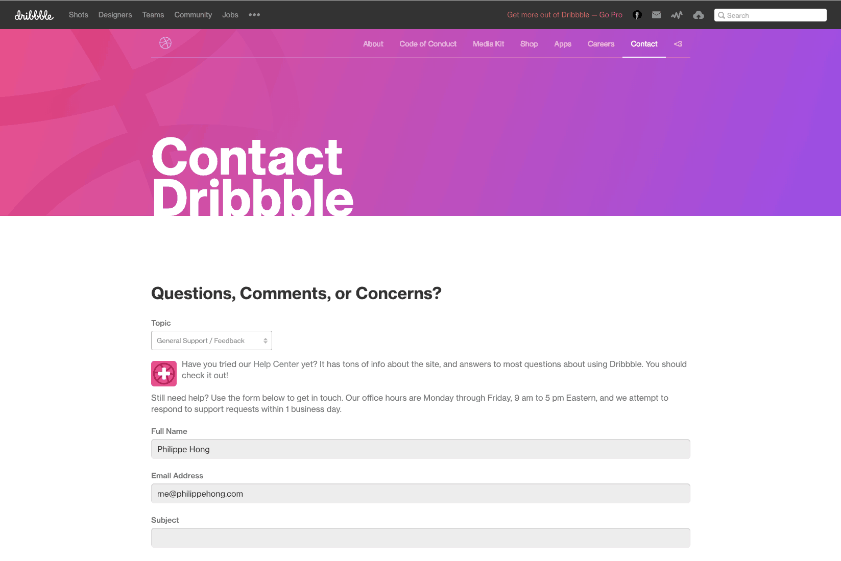 Contact Page by Dribbble