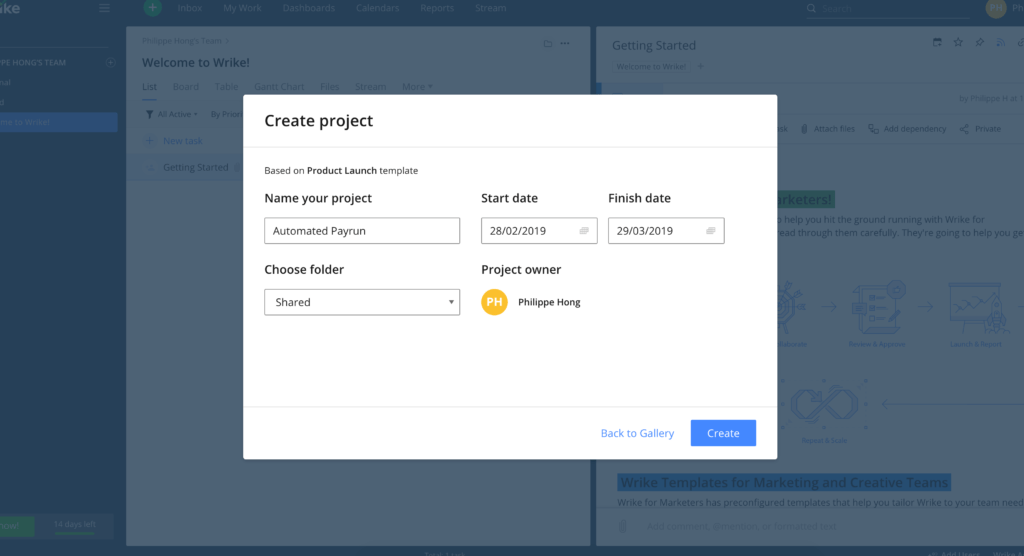 Create Project on Wrike from UIGarage