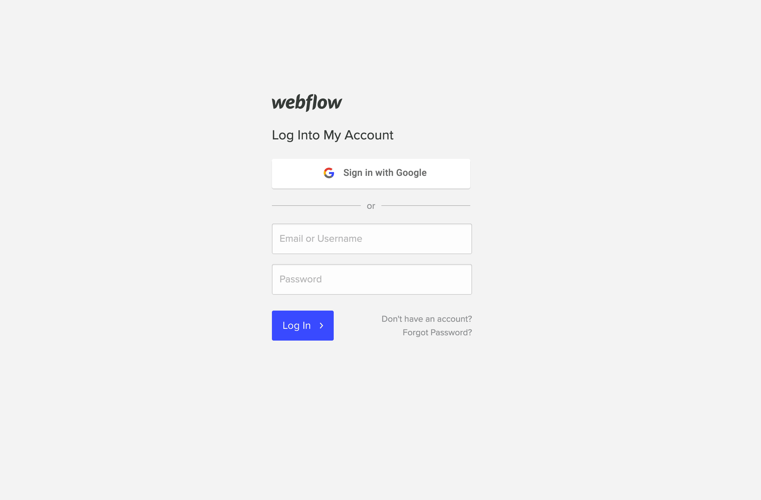 Sign in/Login by Webflow