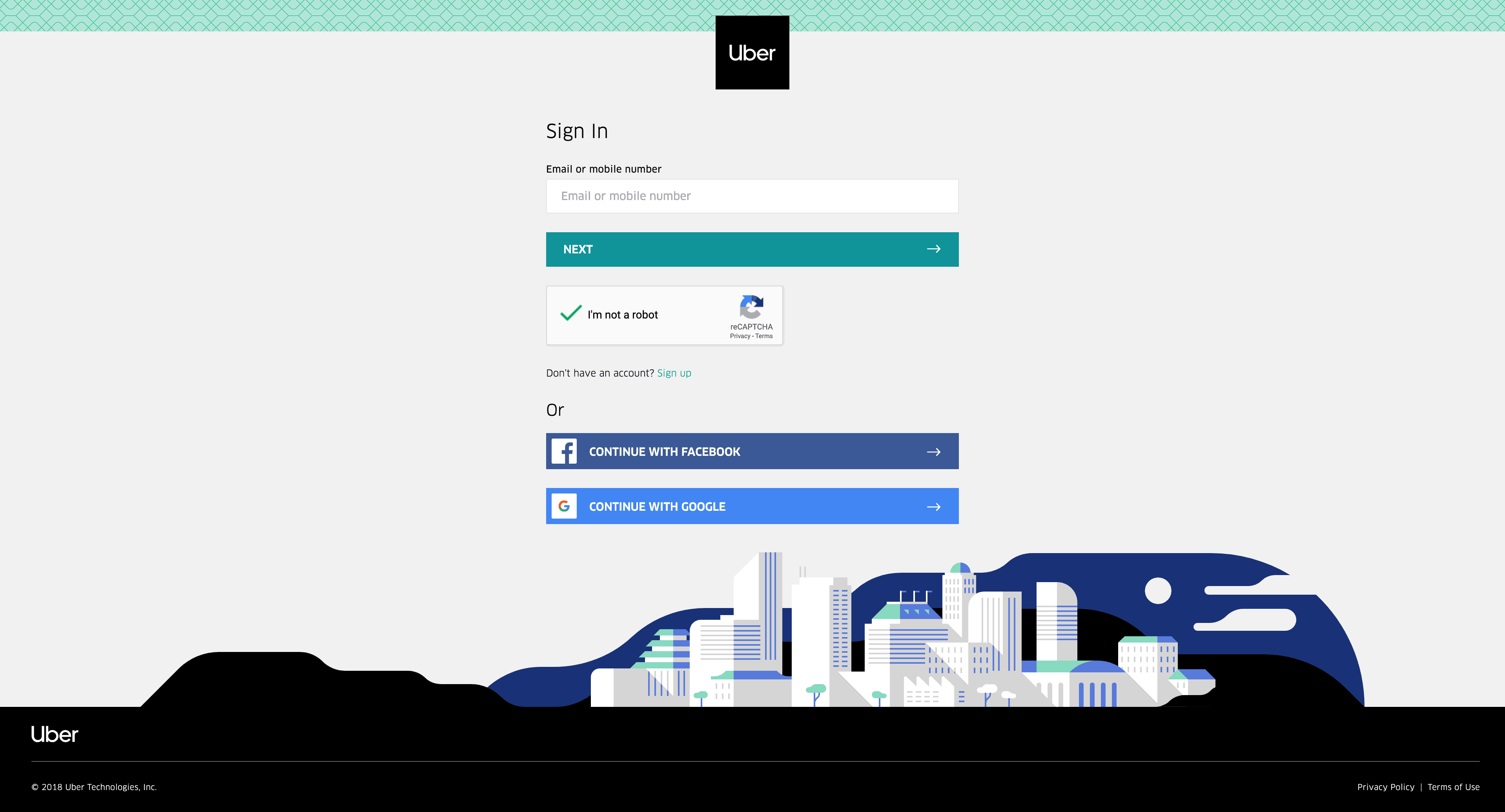 Sign In/Log In by Uber