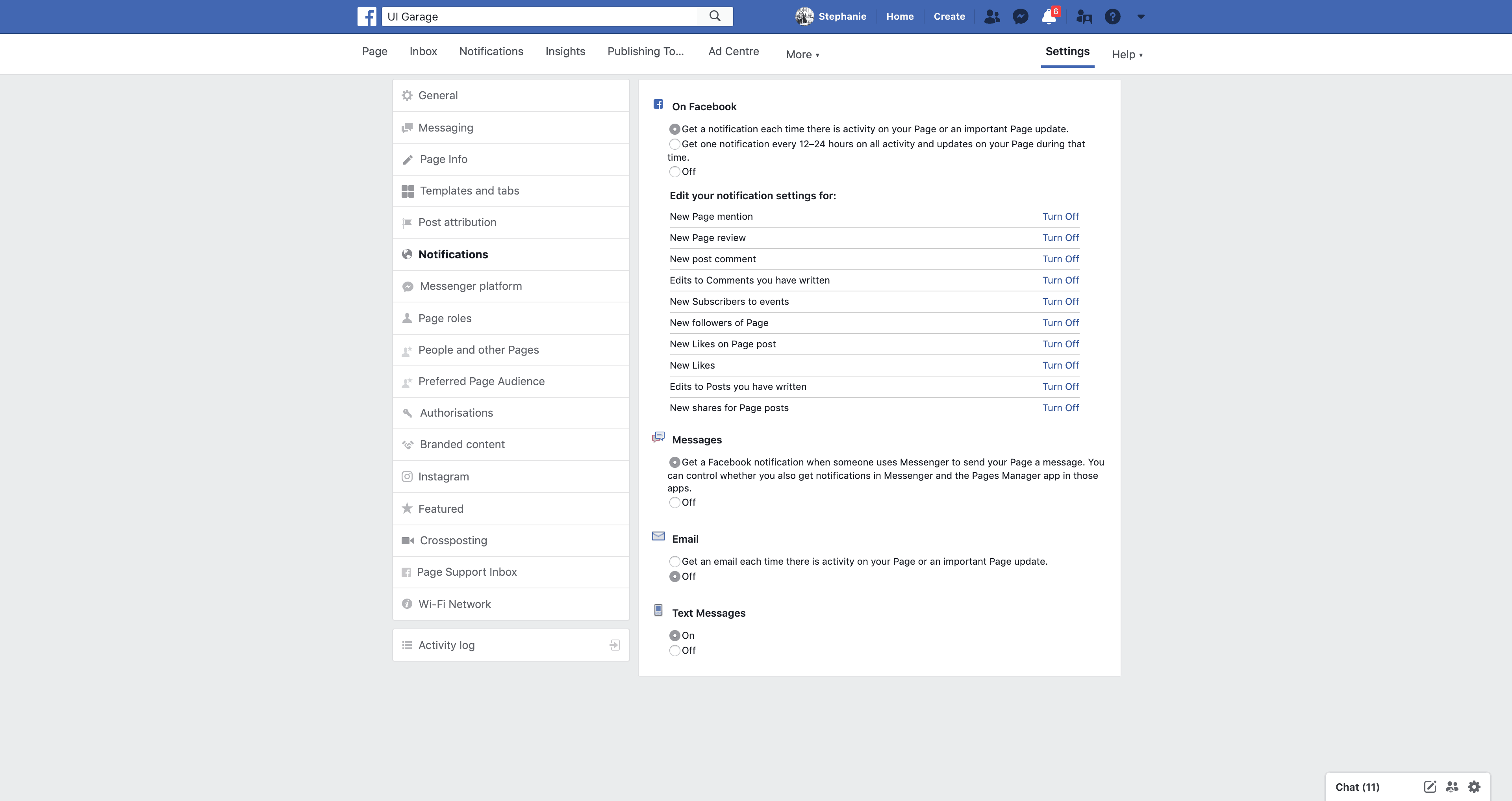 Page's Notifications by Facebook