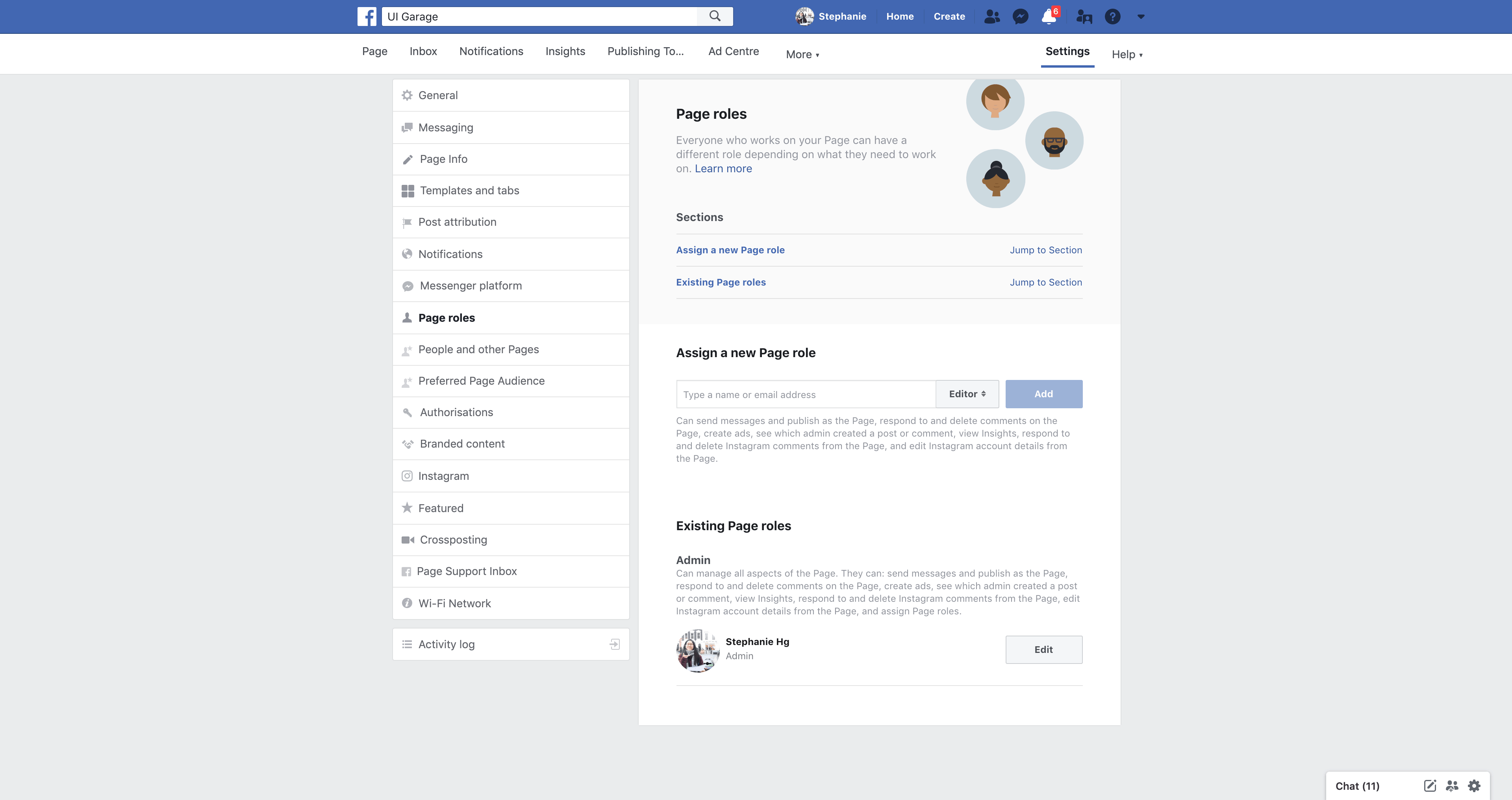 Page's Roles Settings by Facebook from UIGarage