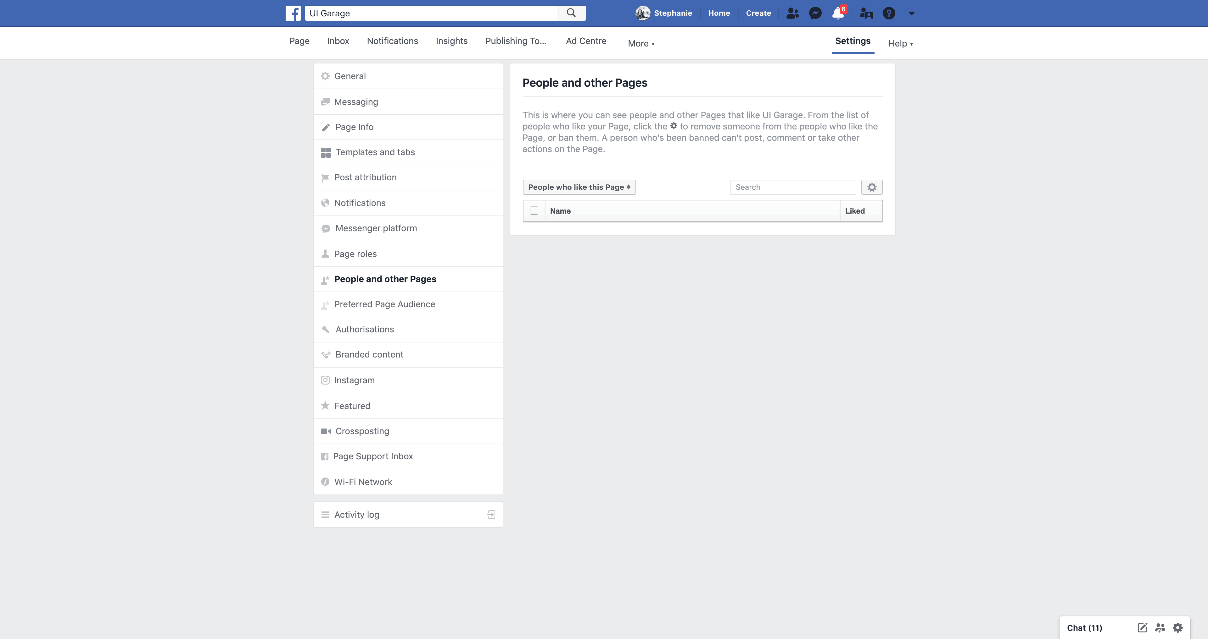 Page's people and other Pages Settings by Facebook