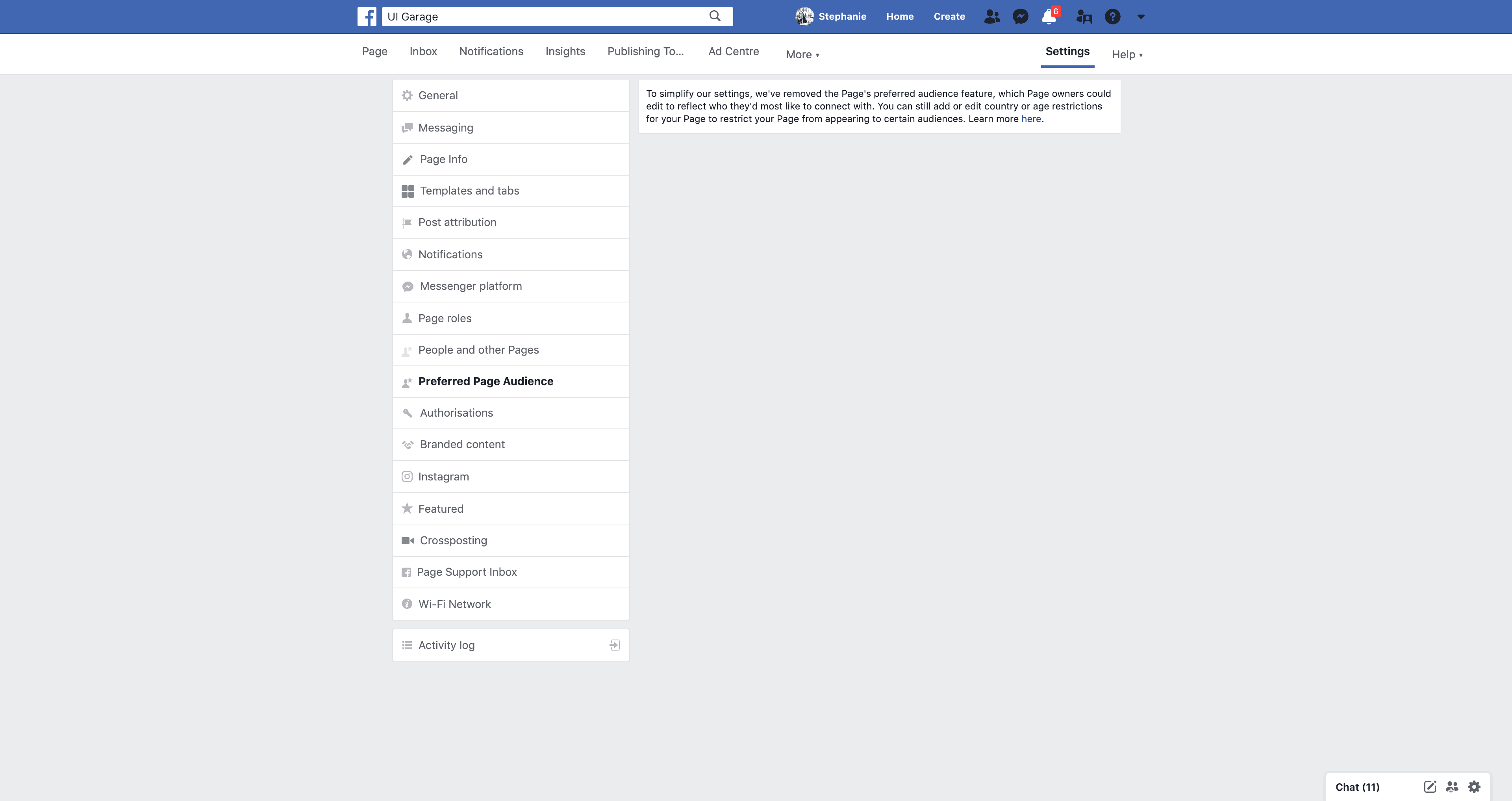 Page's Preferred Page Audience Settings by Facebook from UIGarage