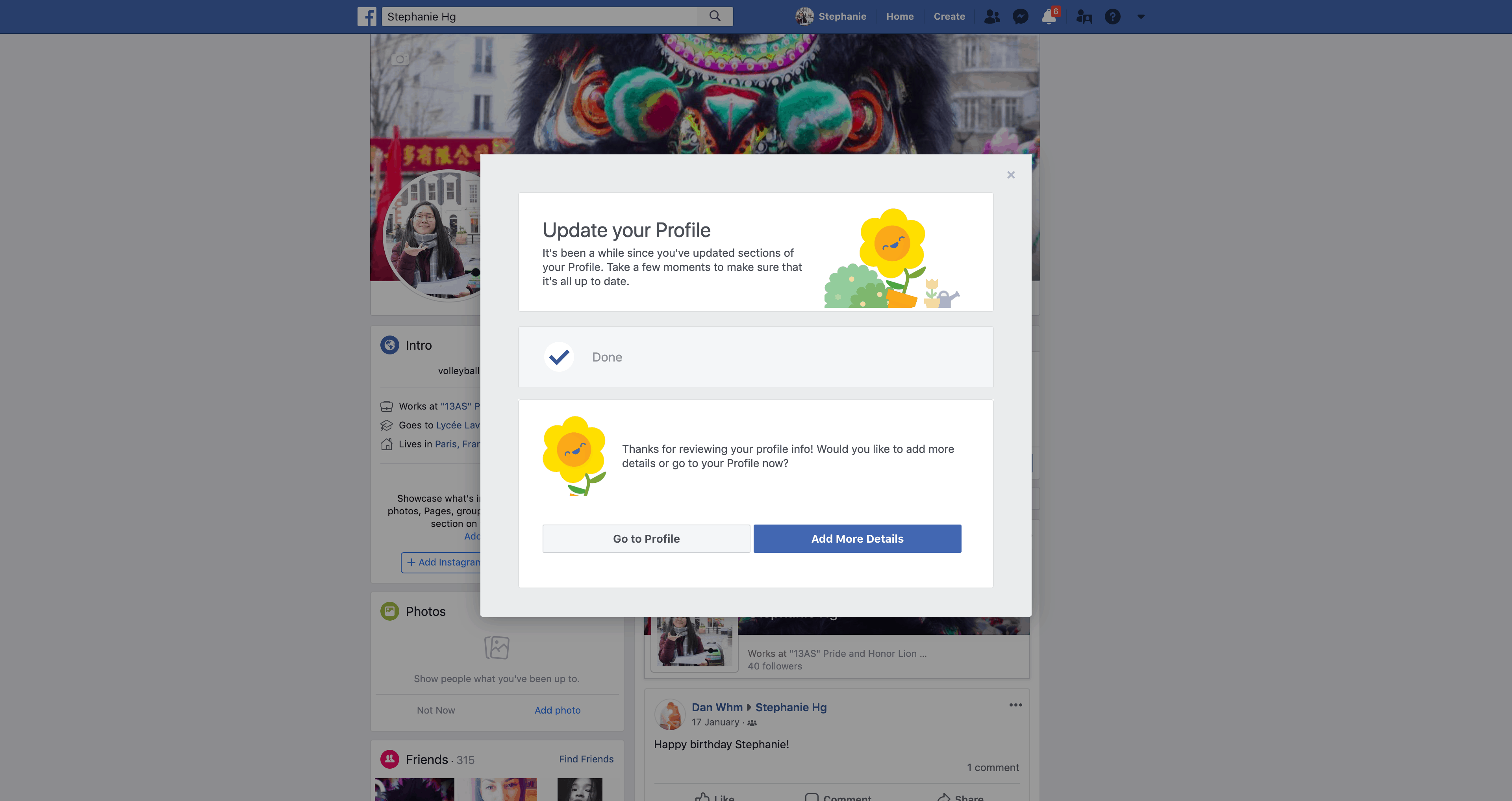 Update Profile by Facebook