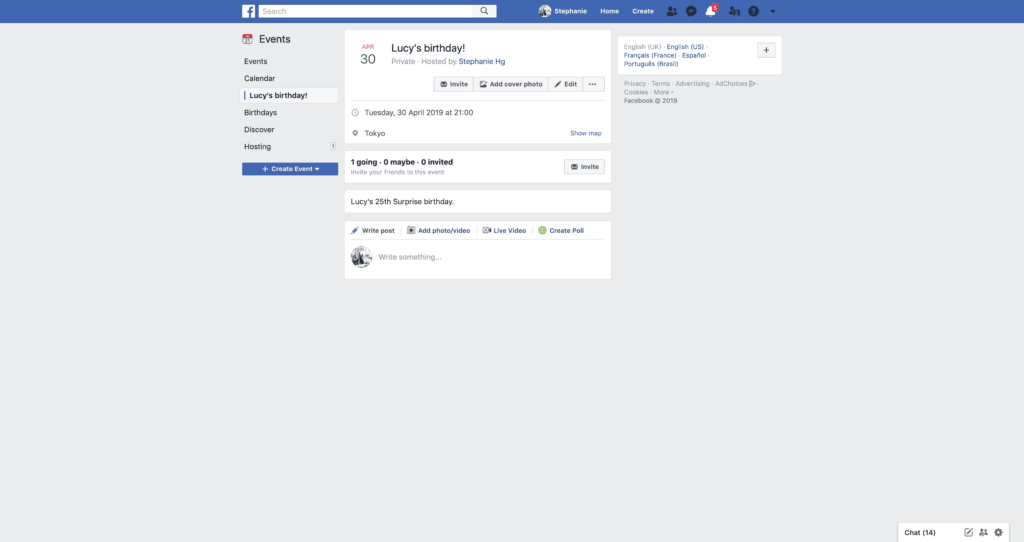 Inspiration New Event's Page by Facebook - UI Garage