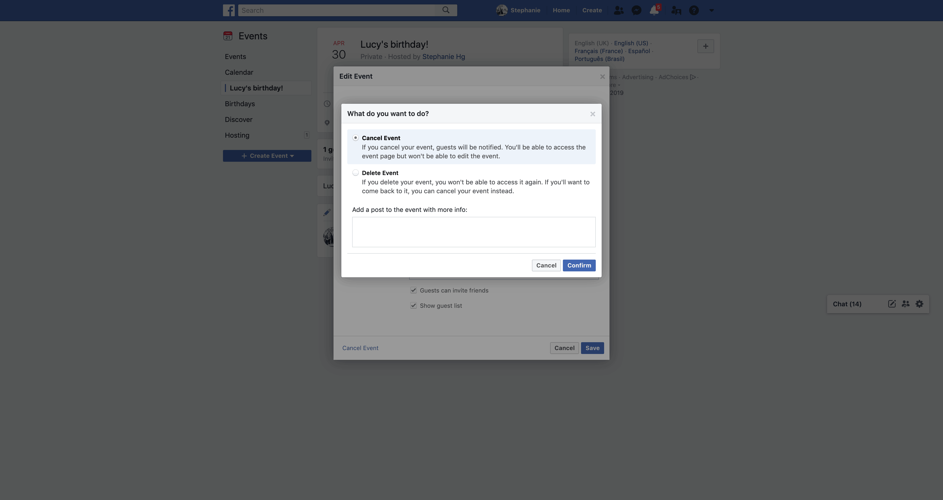 Cancel/Delete an Event by Facebook