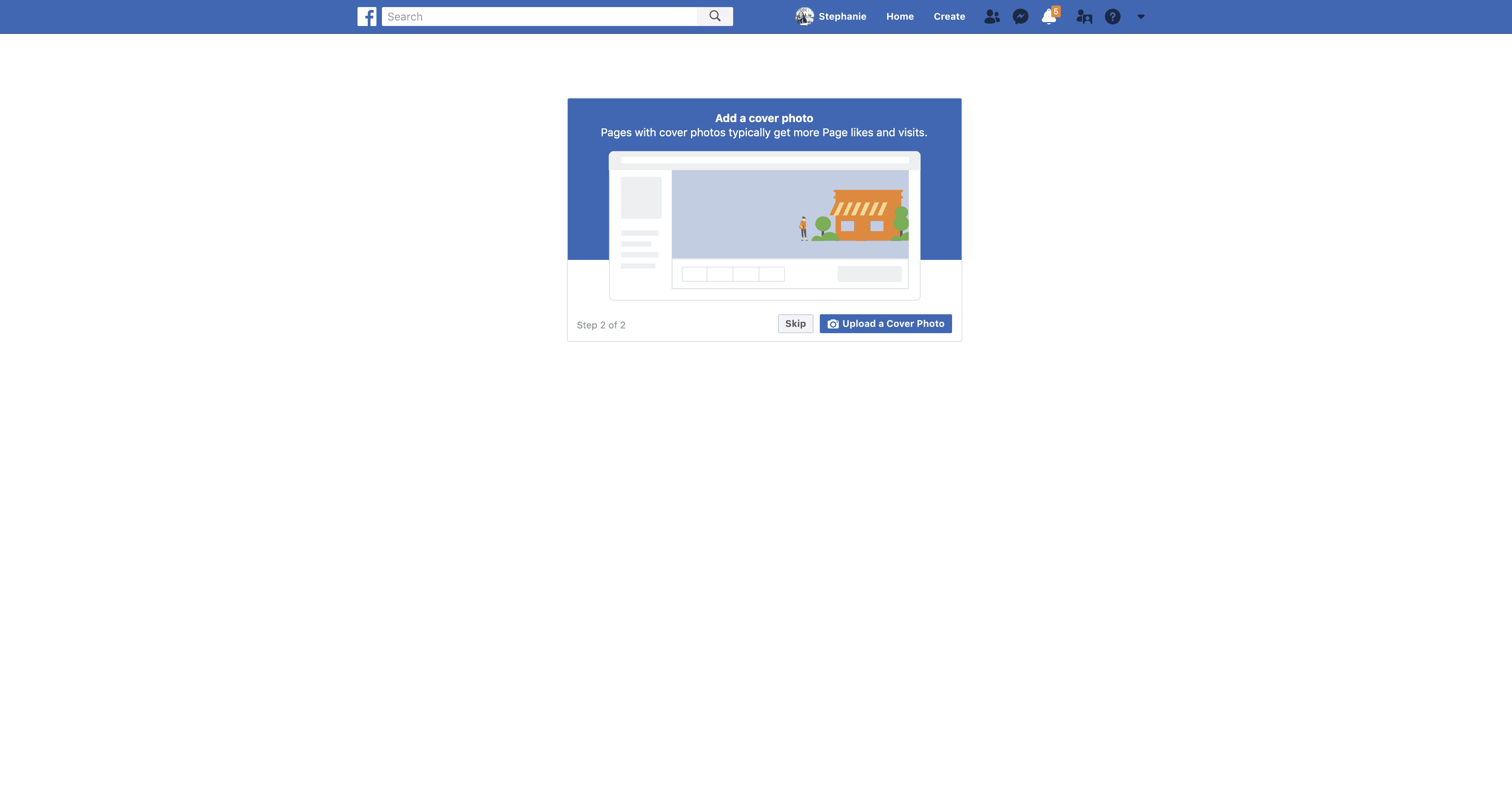 Add a Cover Photo for New Page by Facebook