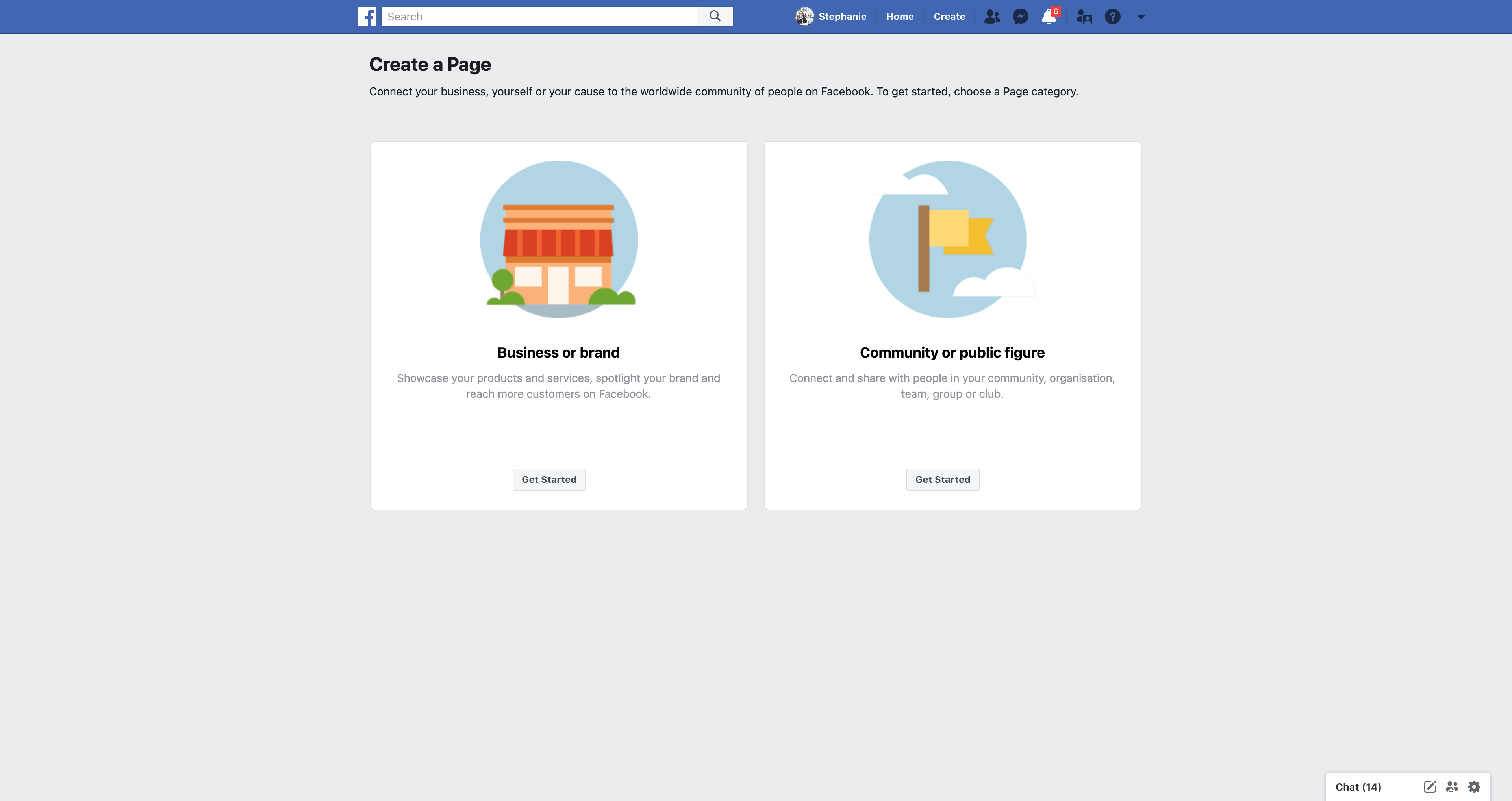 Create a Page by Facebook