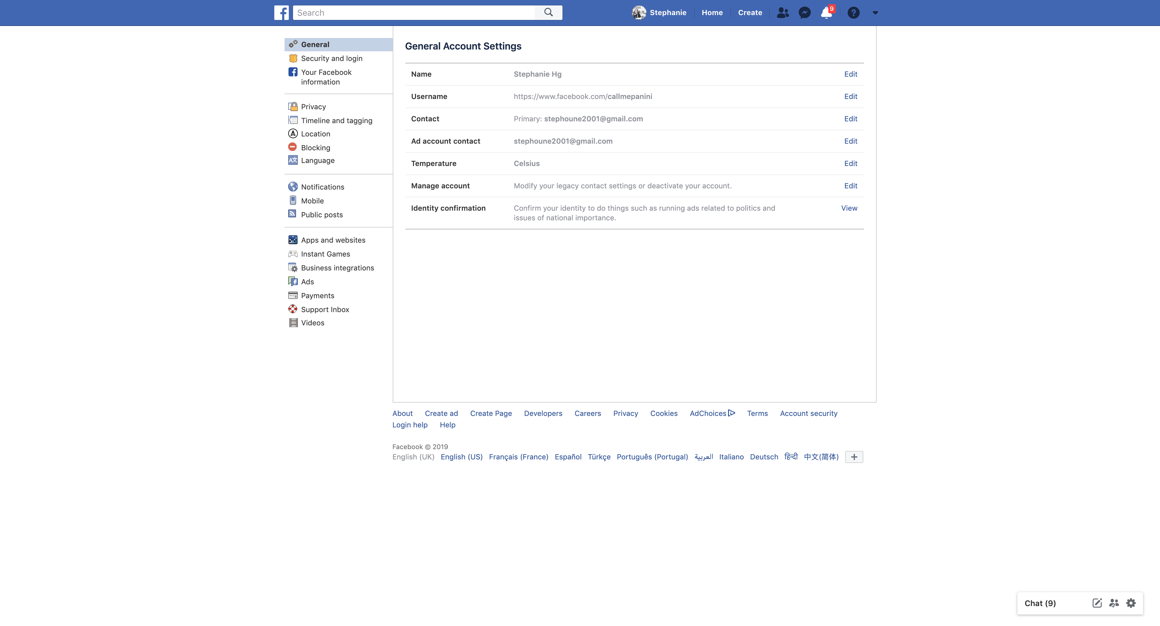 General Settings by Facebook