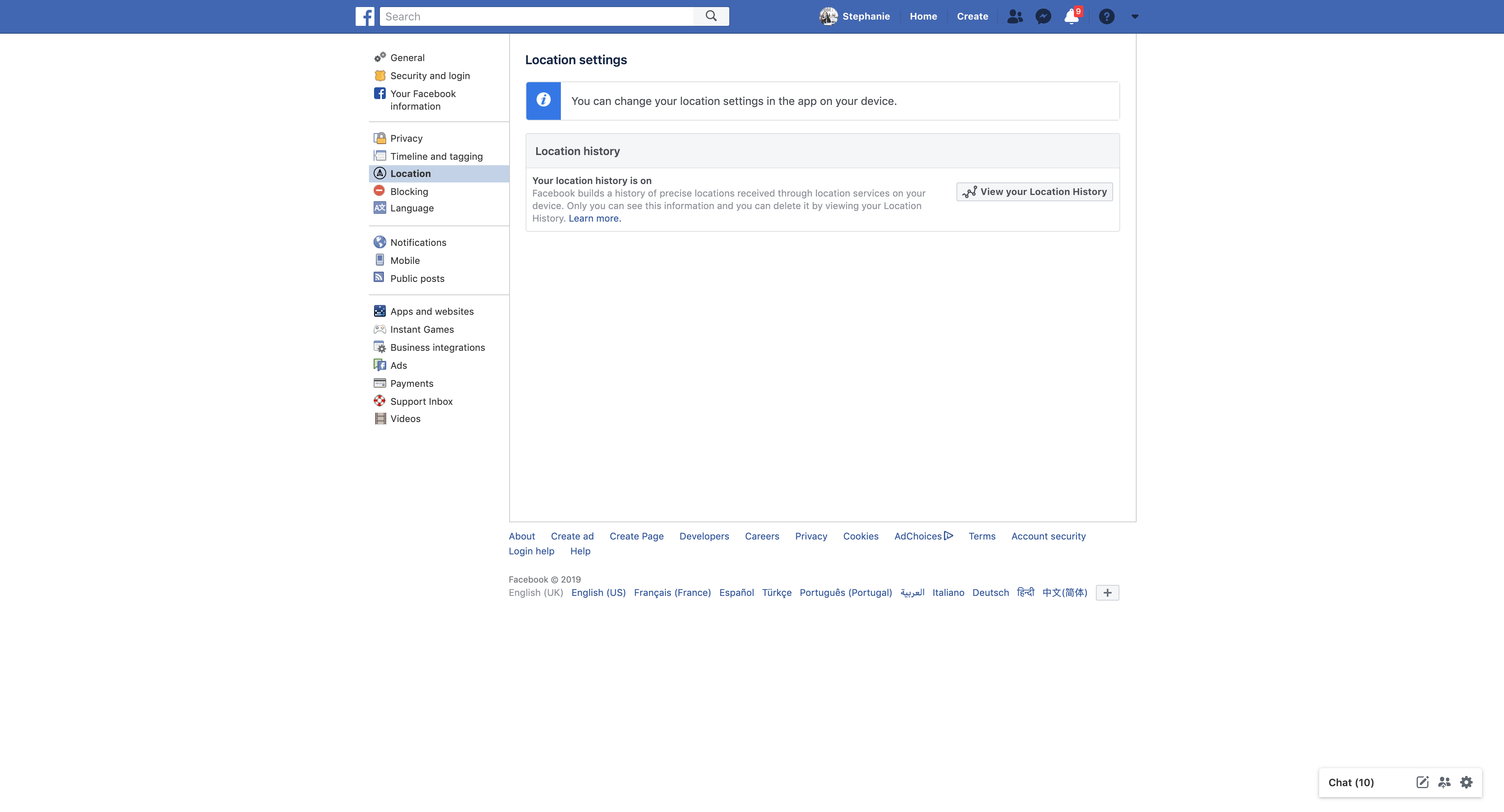 Location Settings by Facebook