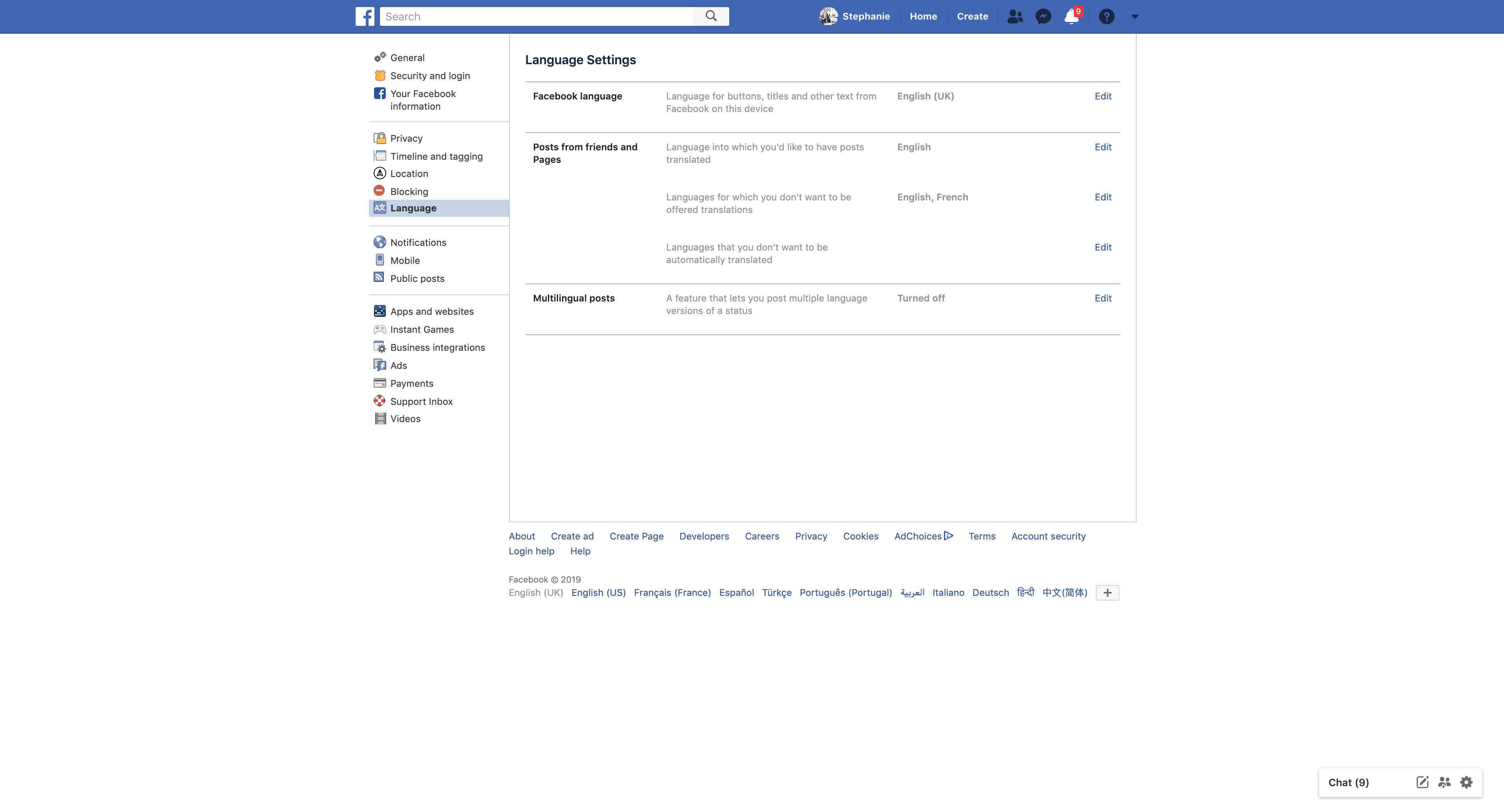 Language Setting by Facebook from UIGarage