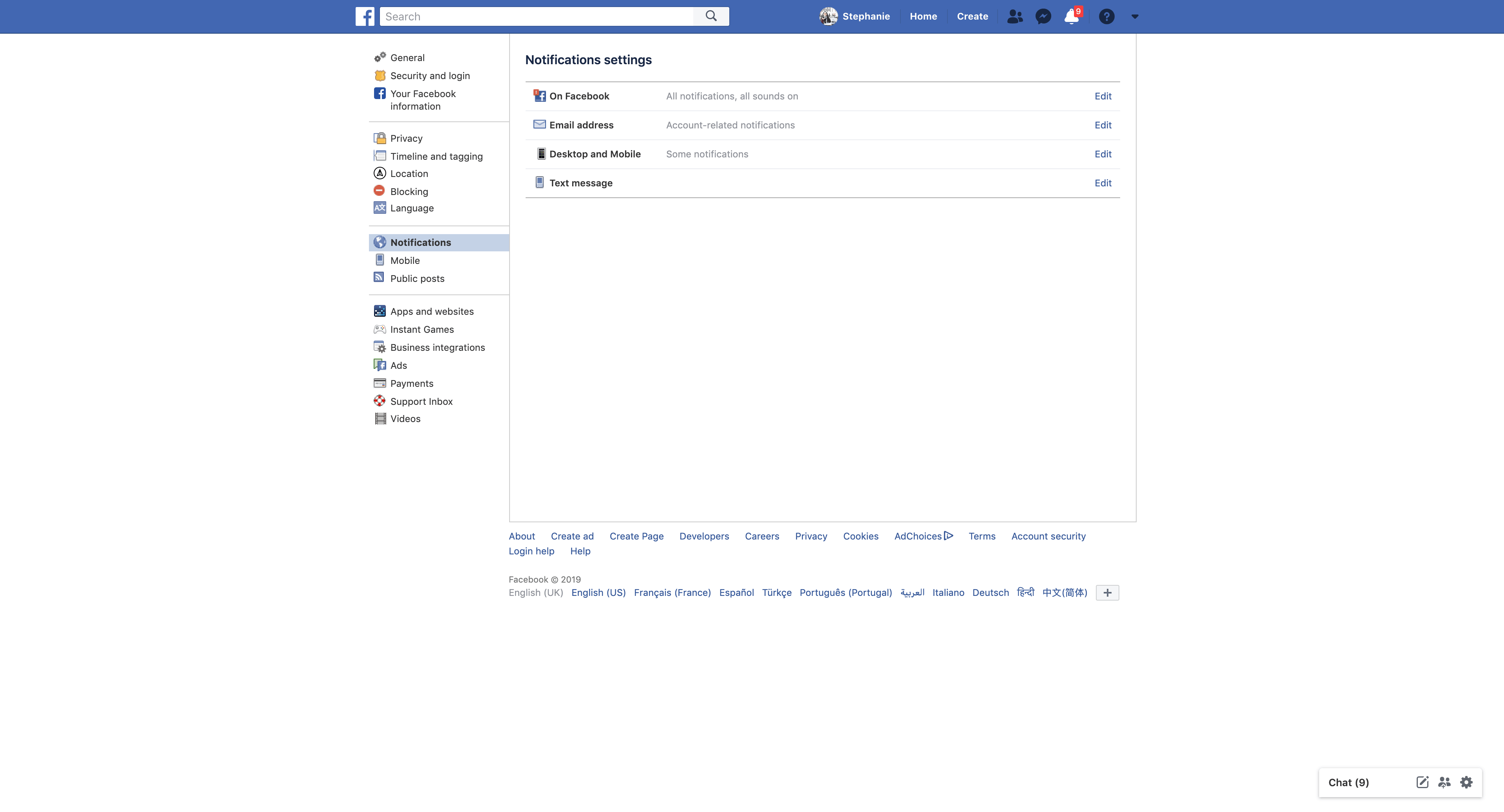 Notifications Settings by Facebook from UIGarage