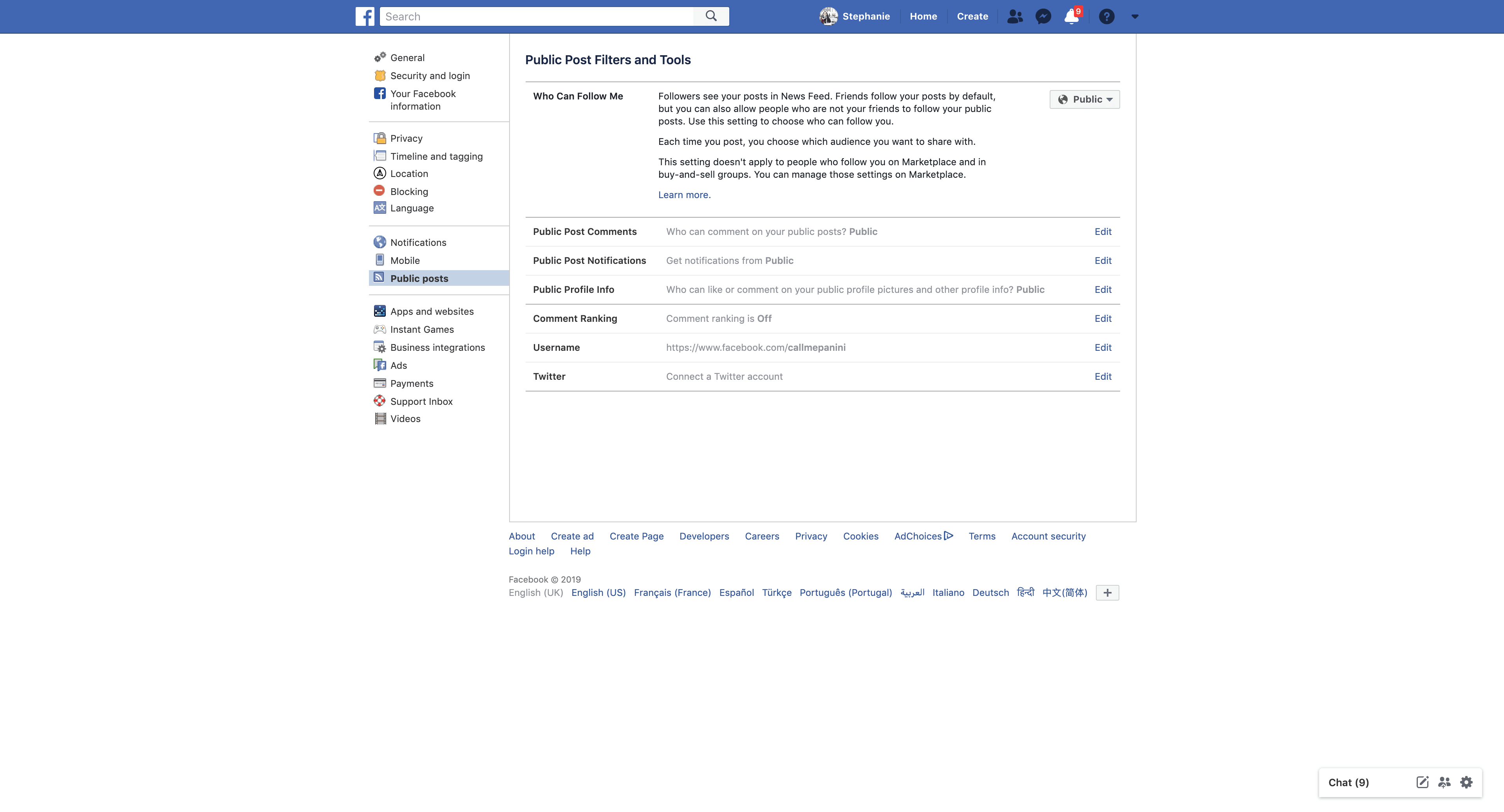 Public Post Settings By Facebook