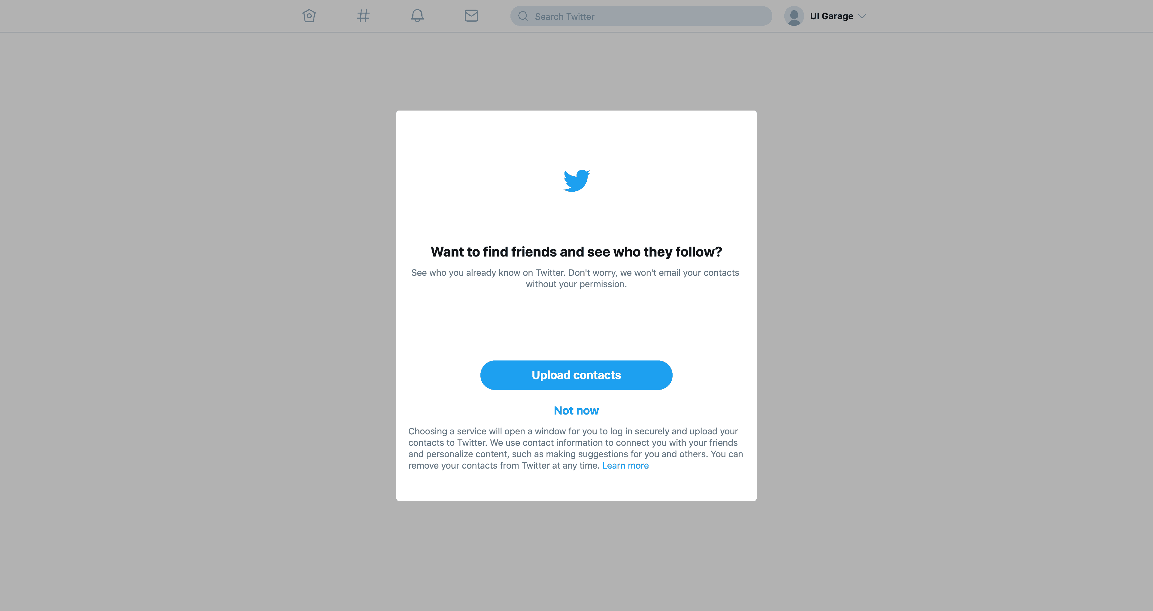Ask permission for uploading contacts by Twitter from UIGarage