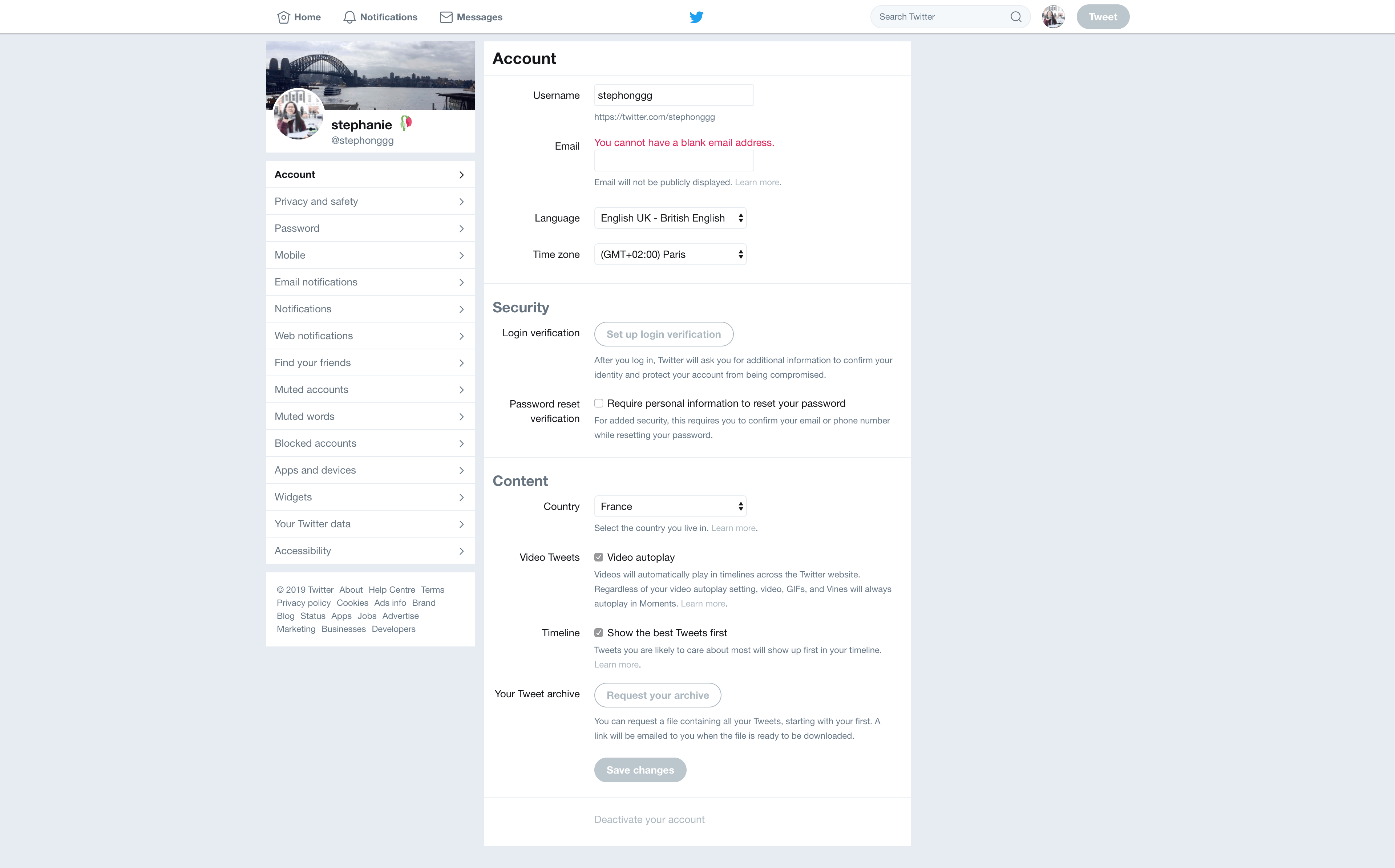 Account Settings by Twitter