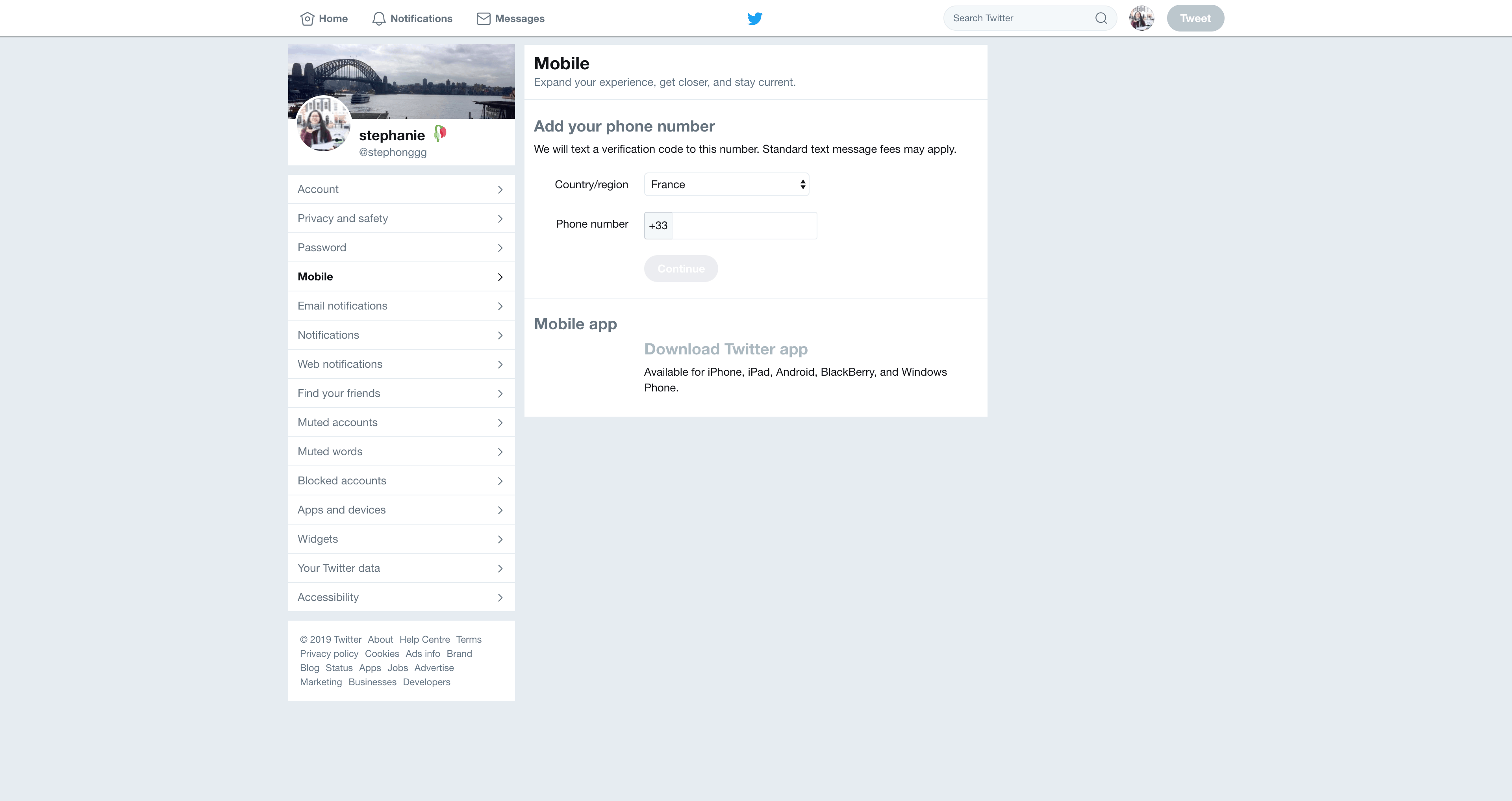 Mobile Settings by Twitter