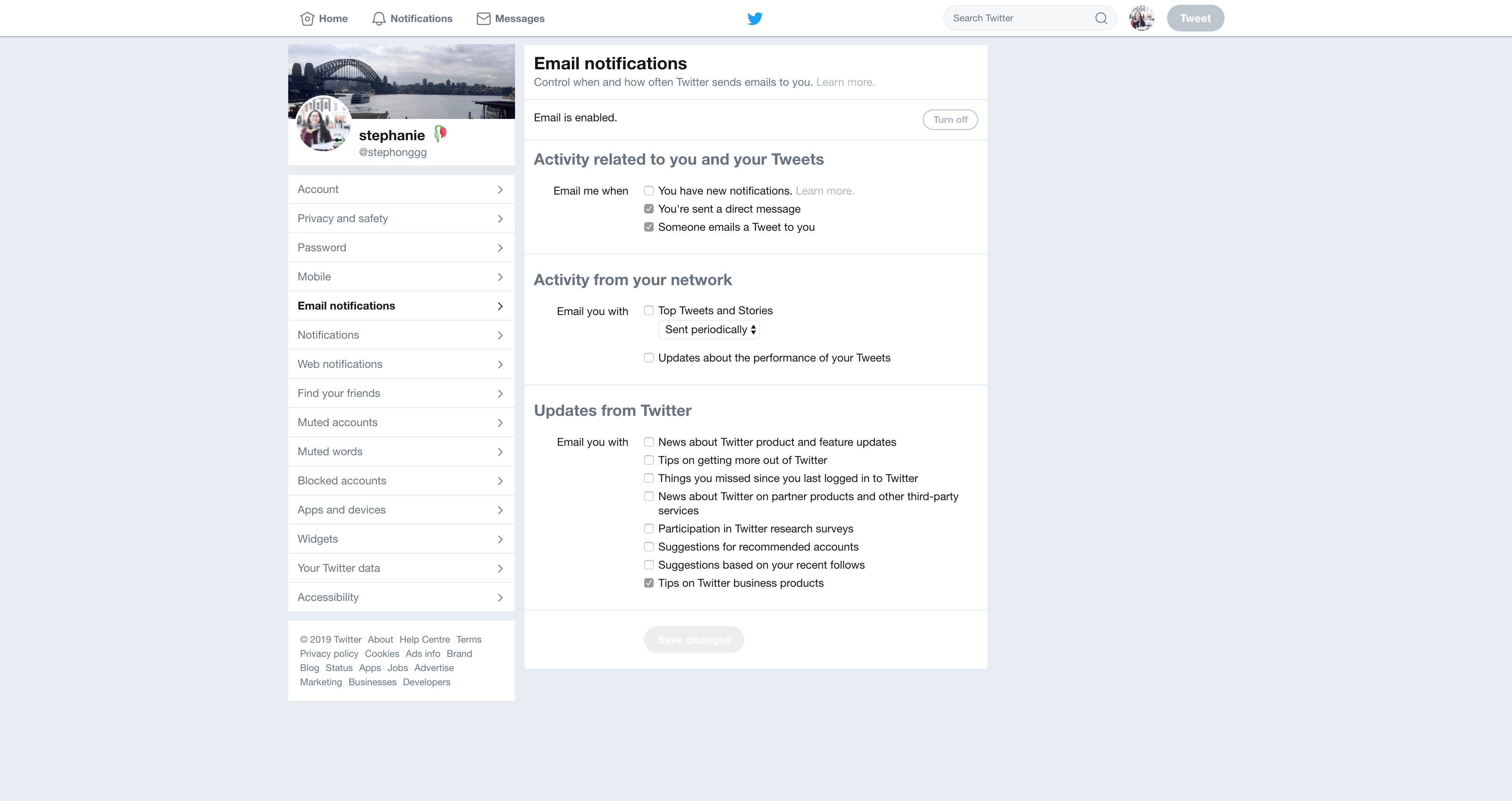 Email Notifications Settings by Twitter